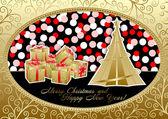 κάρτα διακοπών, καλά χριστούγεννα και ευτυχισμένο το νέο έτος — Διανυσματικό Αρχείο