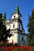 Towers of Catholic Cathedral in Ternopil — Stock Photo