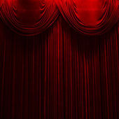 Red velvet stage theater curtains — Stock Photo