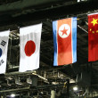 Flag of the south korea,japan,north korea and china — Stock fotografie