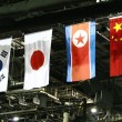 Flag of the south korea,japan,north korea and china — Stock Photo