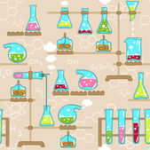 Seamless pattern with chemistry elements — Stock Vector