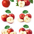 Set red apple fruits with leaf isolated — Stock Photo #11488933