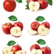 Set red apple fruits with leaf isolated — Stock Photo