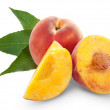 Fresh peach fruits and half — Stock Photo #11489233