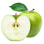 Green apple fruits and half of apple and green leaves — Stock Photo