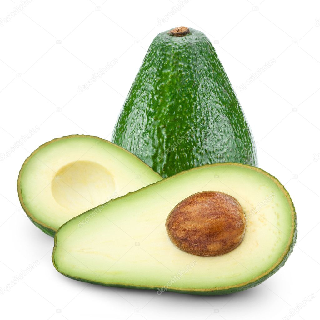 Avocado cut in half isolated on white — Stock Photo #11489965