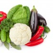 Composition with variety of raw fresh organic vegetables — Stock Photo