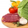 Fresh raw meat and vegetables — ストック写真