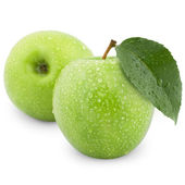 Mokré zelená jablka — Stock fotografie