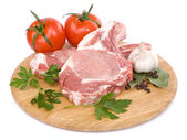 Raw meat and vegetables — Stock Photo