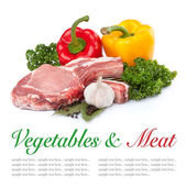 Fresh raw meat and vegetables — Stock Photo