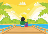 Kids sitting on pier vector illustration — Stock Vector