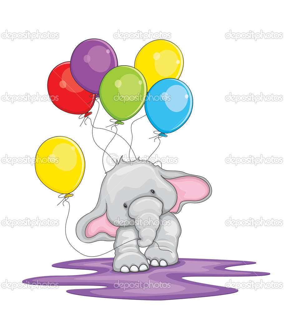 Cute elephant walking with balloons vector illustration stock