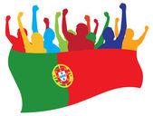 Los fans de Portugal vector illustration — Vector de stock