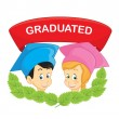 Stock Vector: Graduated students vector illustration