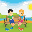 Stock Vector: Kids sitting on bench vector illustration