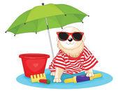 Mignon chien assis sous l'illustration vectorielle parapluie — Vecteur
