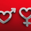 Gender symbols on a red background — Stock Photo #11538209