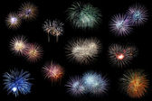 Fireworks explosions elements — Stock Photo