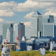 London City with Canary Wharf from Greenwich — Stock Photo