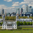 View of London City with Canary Wharf  and National Maritime Museum — Stock Photo