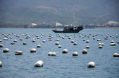 Fish farms & boat — Stock Photo