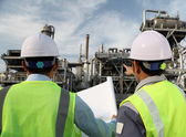 Two engineer of oil refinery — Stock Photo