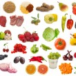 Big raw food collection, fruits, vegetables and meat — Stock Photo