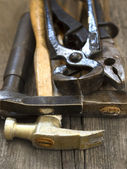 Hammer, pillars and other work tools — Stock Photo