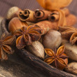 Anise with almonds and cinnamon — Stock Photo