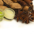 Almond cosmetics with anise — Stock Photo