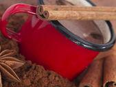 Taza roja con canela y anís — Foto de Stock