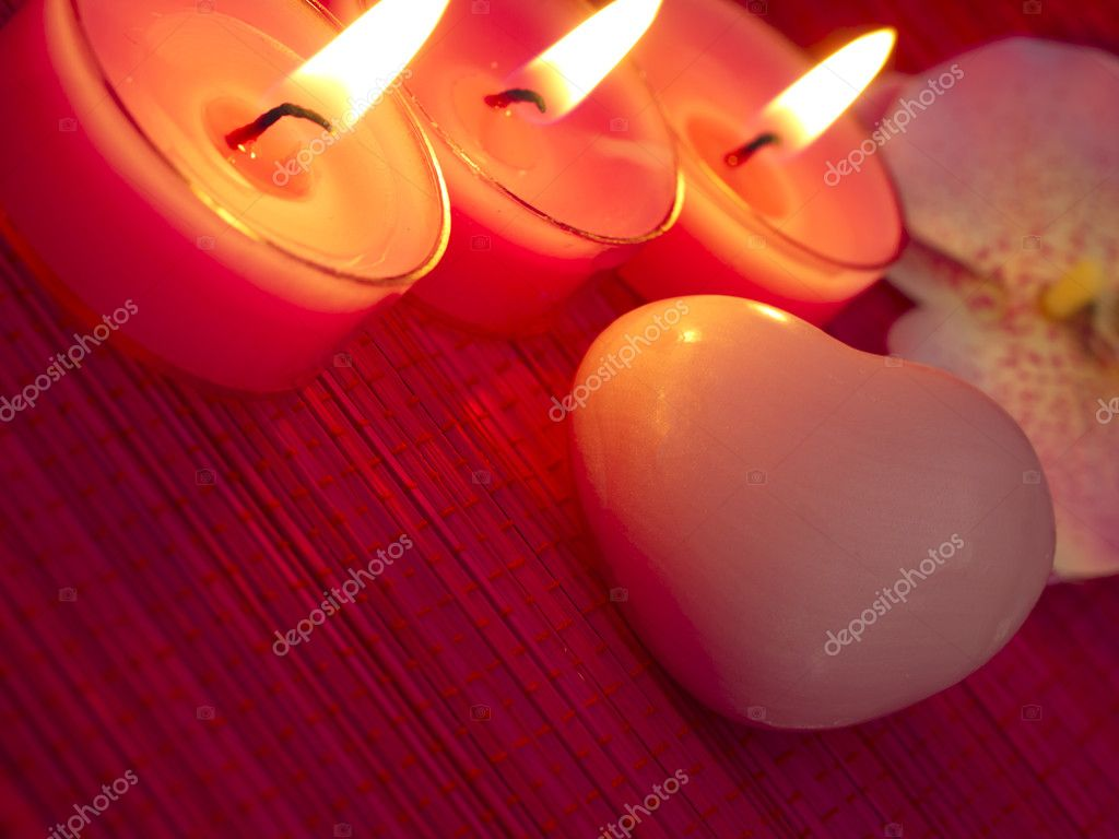 Burning candles with spa soap — Stock Photo #11246254