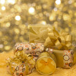 Plenty of gifts over shiny background — Stok fotoğraf