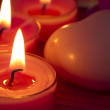 Burning candles with spa soap — Stock Photo