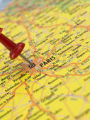 Paris on the map — Stock Photo