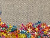 Bordo floreale sullo sfondo tessile — Foto Stock