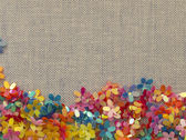 Floral border on the textile background — Foto de Stock