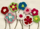 Crocheted flowers — 图库照片