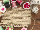 Textile tag in the sewing arrangement — Stock Photo