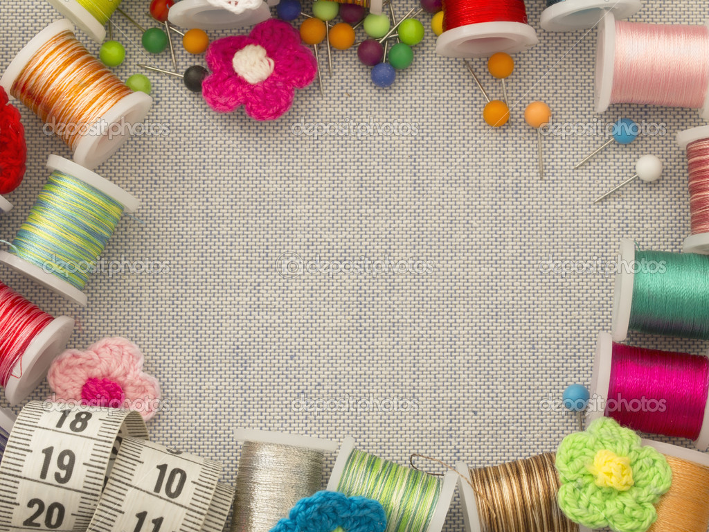 Border made of bobbins and other sewing materials stock for Sewing materials