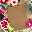 Paper tag with sewing material — 图库照片