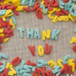 Thank you made of sweet eateble letters — Stock Photo #11276281