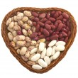 Dish in the shape of heart with beans — Stock Photo