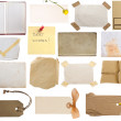 Collection of notes, vintage pages, tags, papers — Stock Photo #11279004