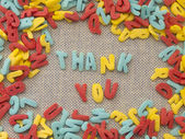 Thank you made of sweet eateble letters — Stock Photo