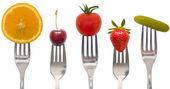 Concepto de dieta, bocadillos de frutas y verduras — Foto de Stock