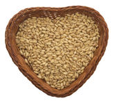 Wheat in the heart pot — Stock Photo