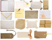 Raccolta di note, tag, carte, pagine d'epoca — Foto Stock